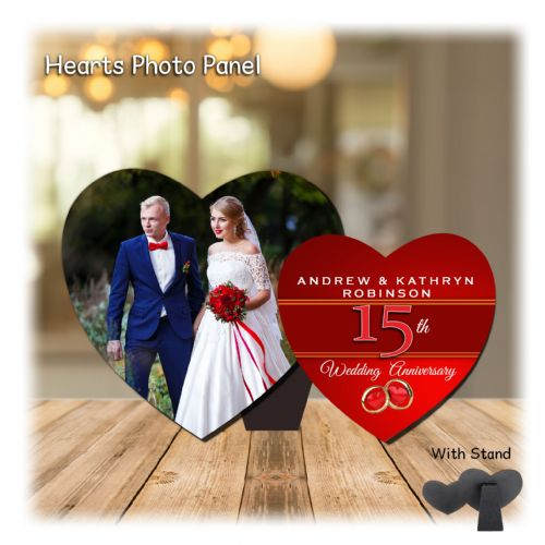 Personalised MDF Hearts Photo Wood Panel Print N11 - Red 15th  Wedding Anniversary Keepsake Gift